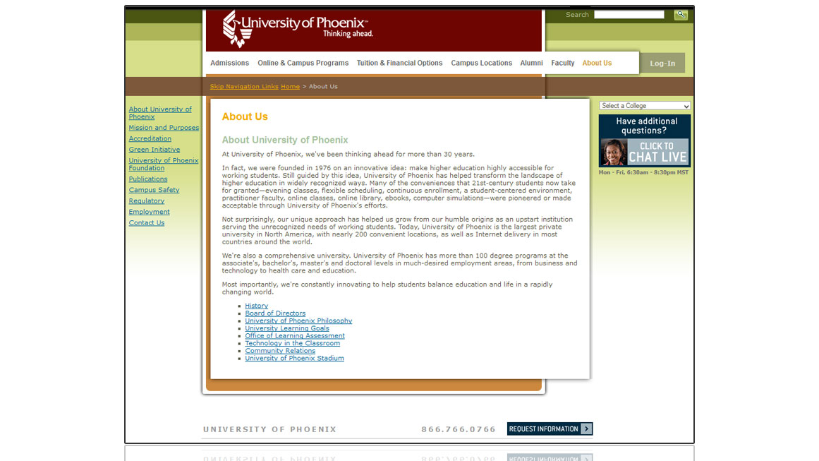 University of Phoenix Home Page