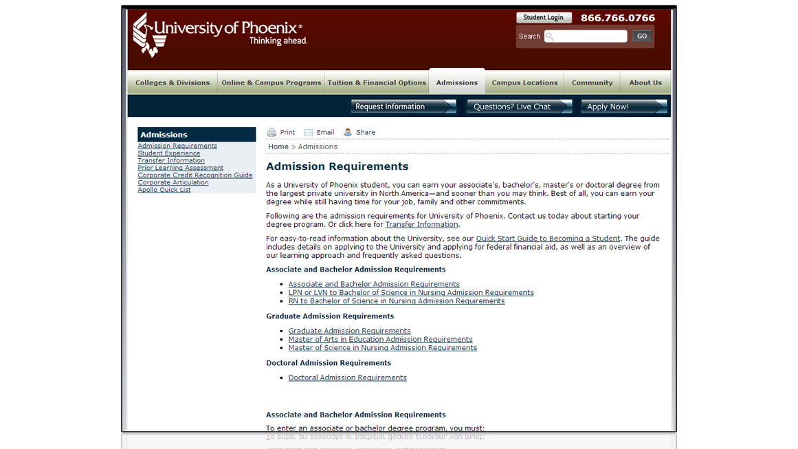 University of Phoenix Admissions Page