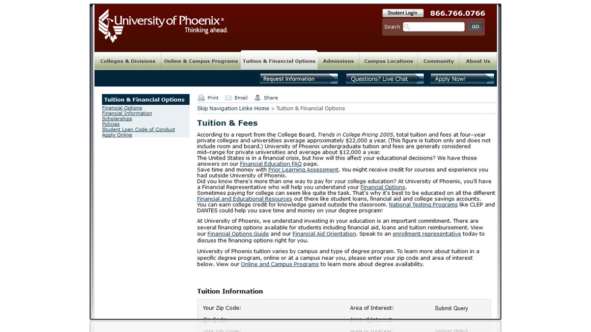 University of Phoenix Tuition Page